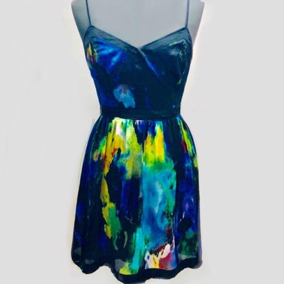 Matty M Dresses & Skirts - Marty M Watercolor Print Strapless Dress